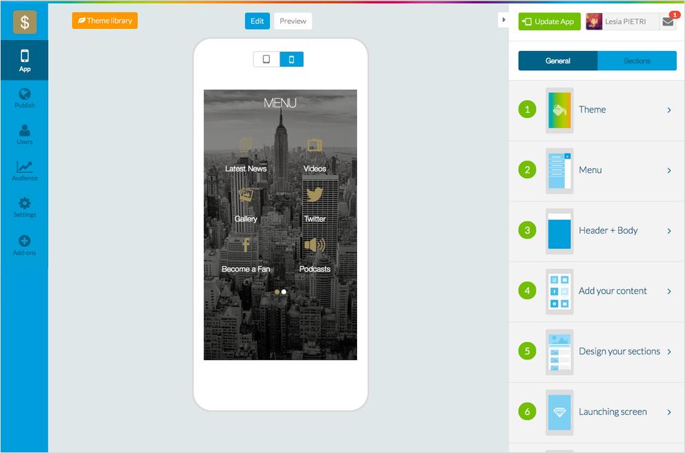 Goodbarber crea aplicaciones con el mejor app builder para Blueprint creator app